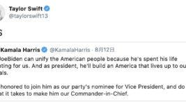 「YES」テイラー・スウィフト、シャーリーズ・セロンらが女性副大統領候補の指名に喜びの声!